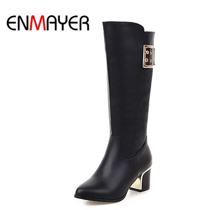 Find More Women's Boots Information about ENMAYER High Heels Motorcycle Boots Shoes Woman Round Toe Winter Boots Buckle Strap Mid calf Boots for Women Platform Shoes,High Quality boots buckle,China boots for woman Suppliers, Cheap winter boots from ENMAYER CO., LIMITED on Aliexpress.com