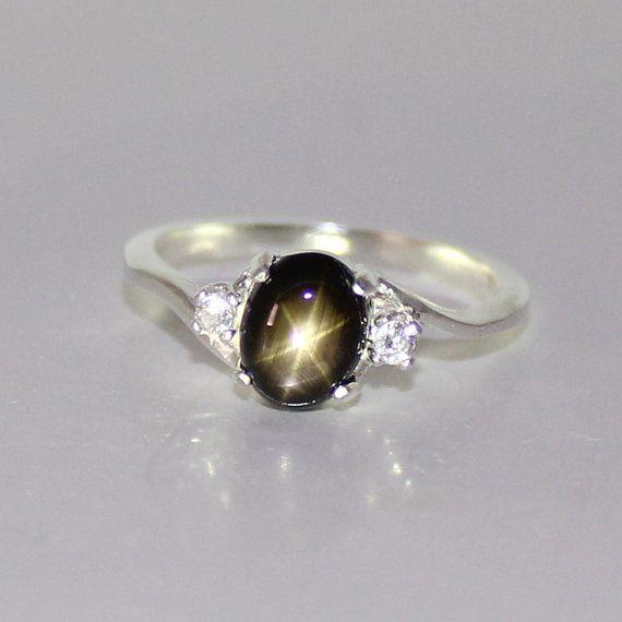 Natural negro zafiro de estrella anillo plata septiembre Birthstone anillo de zafiro de estrella plata