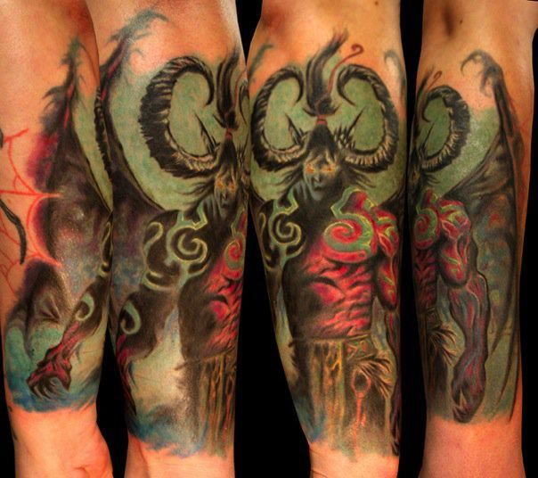 Tatuagem Illidan Stormrage Wing Do Jogo World Of Warcraft