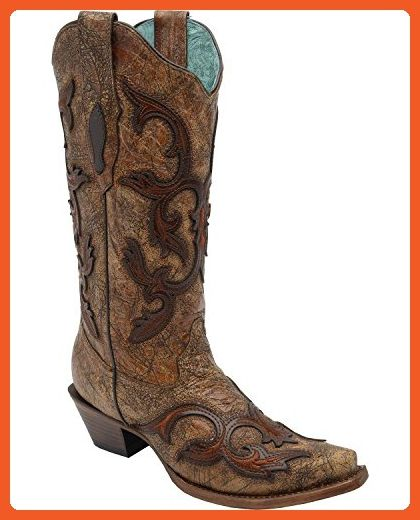 Corral Women's Patch Tall Cowgirl Boot Snip Toe Cognac 9.5 M US - Boots for women (*Amazon Partner-Link)