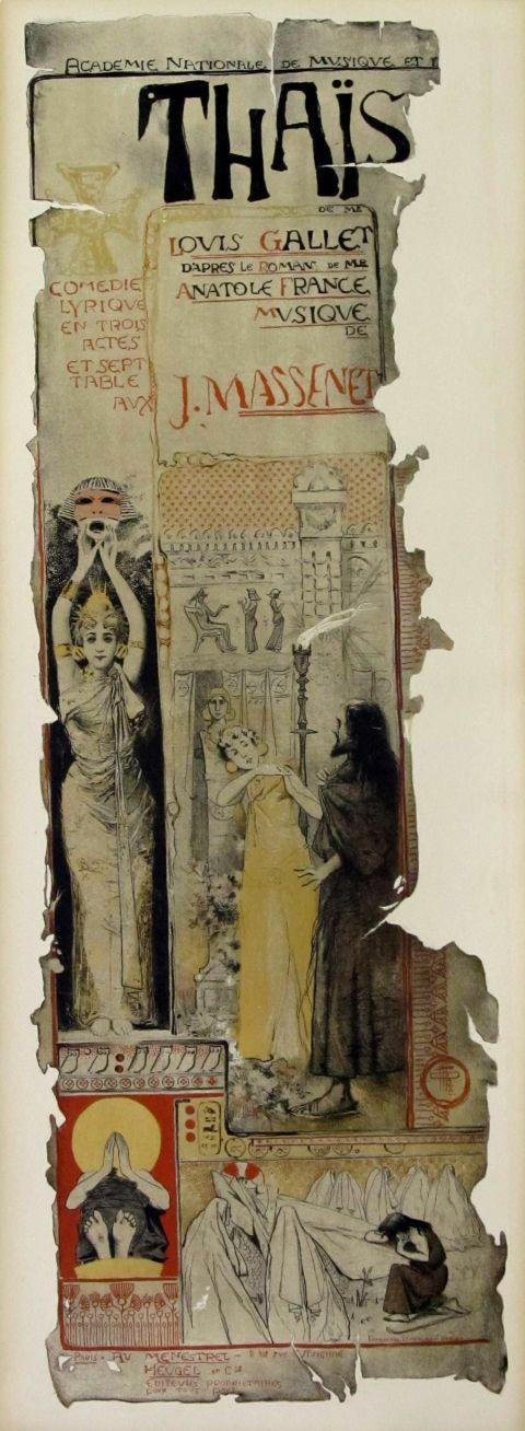 J. Massenet's Thaïs opera poster, by Manuel Orazi 1894
