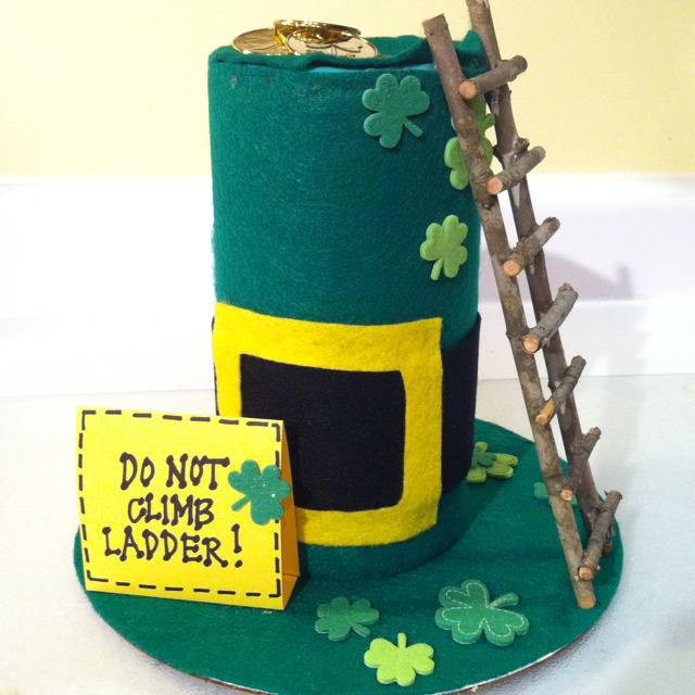 Hawke's Leprechaun Trap made from a Clorox Wipes plastic container and felt