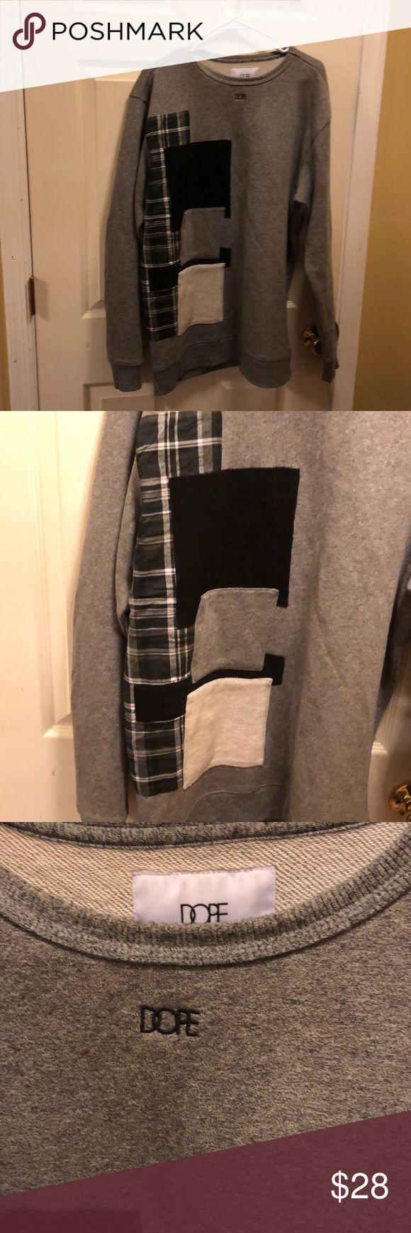 Gray men's sweatshirt Gray Men's sweatshirt with design XL size designer Dope Dope Sweaters Crewneck