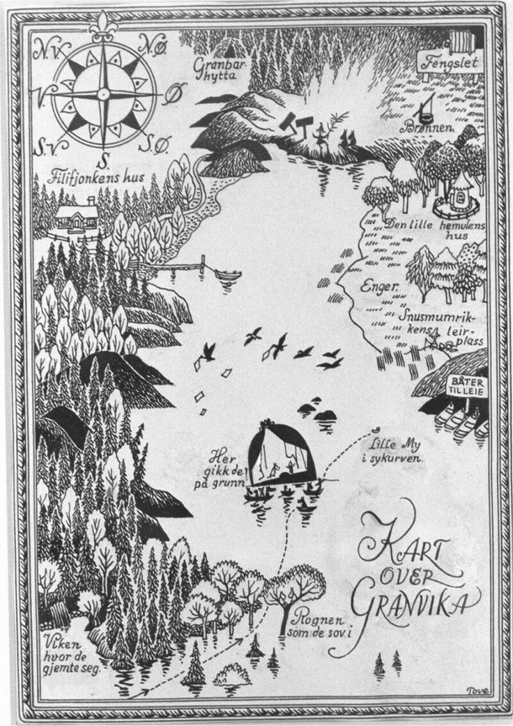 Illustrated map by Tove Jansson