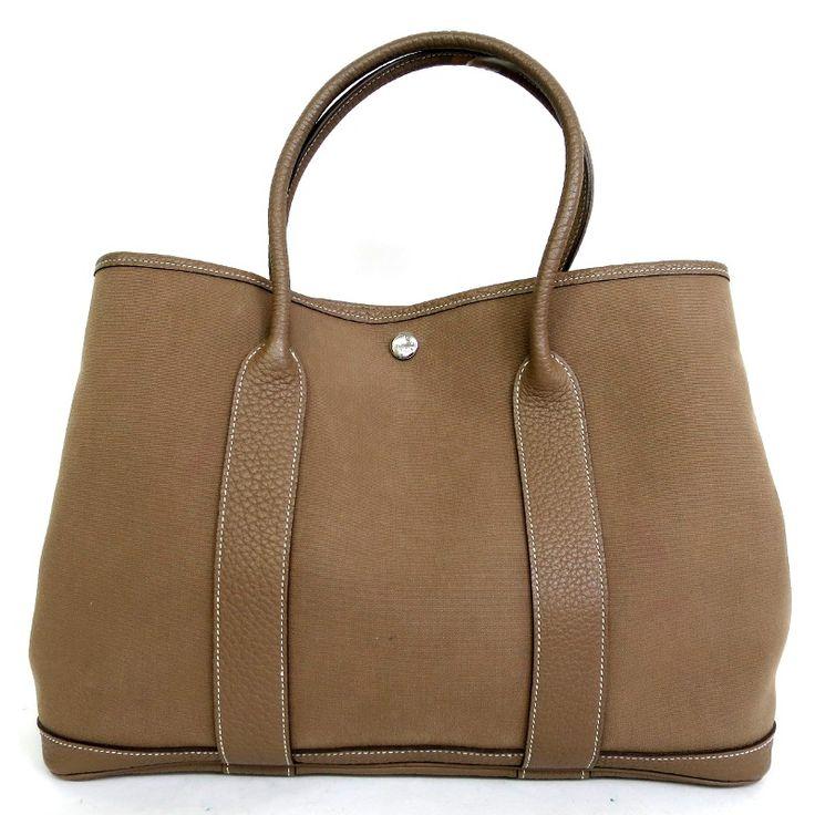 【中古】Hermes(エルメス) ガーデンパーティー PM ハンド バッグ O刻 トワルオフィシェ カーフ レザー エトゥープ 茶/普段のちょっとしたおでかけの時などに程よいサイズで、実用性が高いバッグです。/新品同様・極美品・美品の中古ブランドバッグを格安で提供いたします。