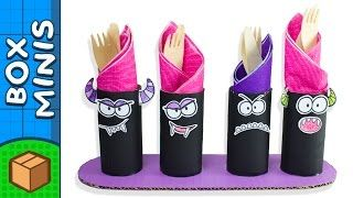 These toilet roll halloween monsters are great to use for a scary dinner!