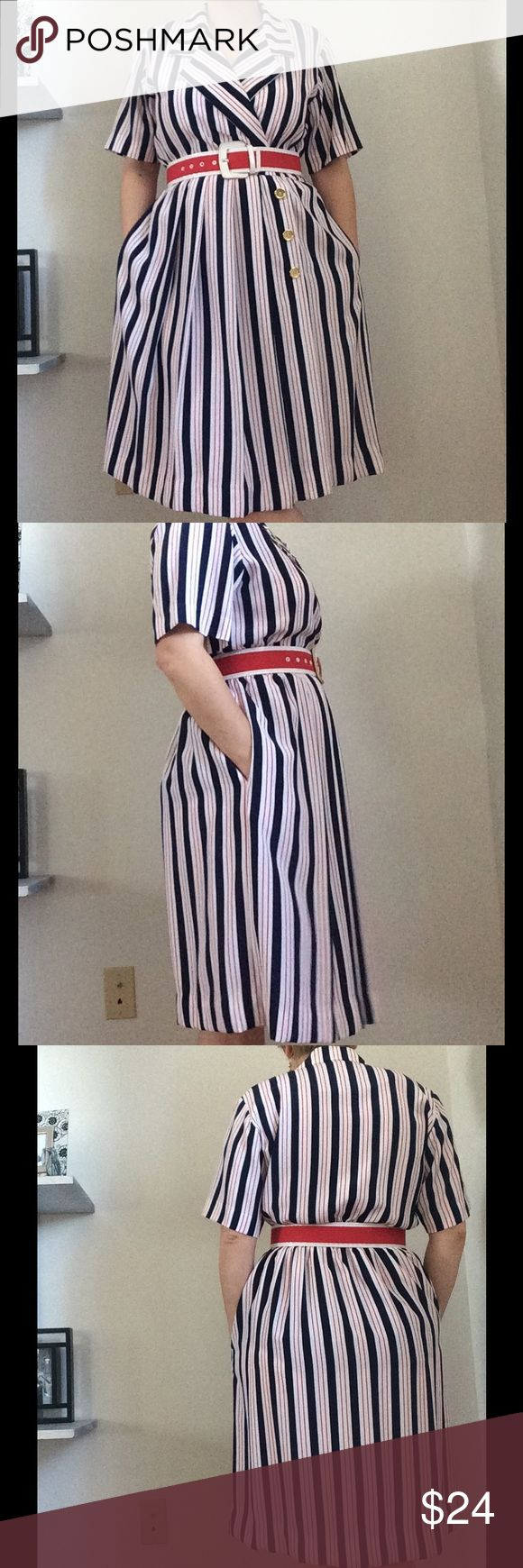"Vintage Nautical dress Leslie Fay Petites size 8p. 36"" bust. 26-30"" waist 40"" in length. Belt not included Vintage Dresses Midi"