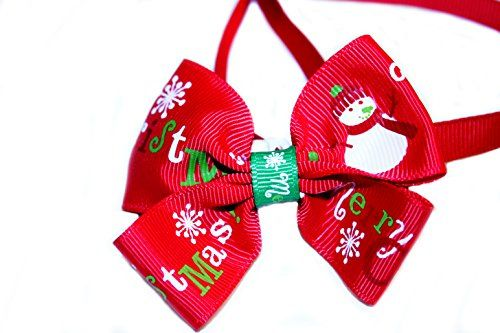 "PET NECK BOW: Fun, Bright Christmas Themed Bow Ties for Your Dapper Pup SIZE: Collar Size adjustable: 9""- 14"". Bow Width: 2"", Length: 3"" MATERIAL: Polyester & Satin Silky Smooth Material. The collar has plastic slide which makes it adjustable. It also has a plastic hinge clip for an easy on and off."
