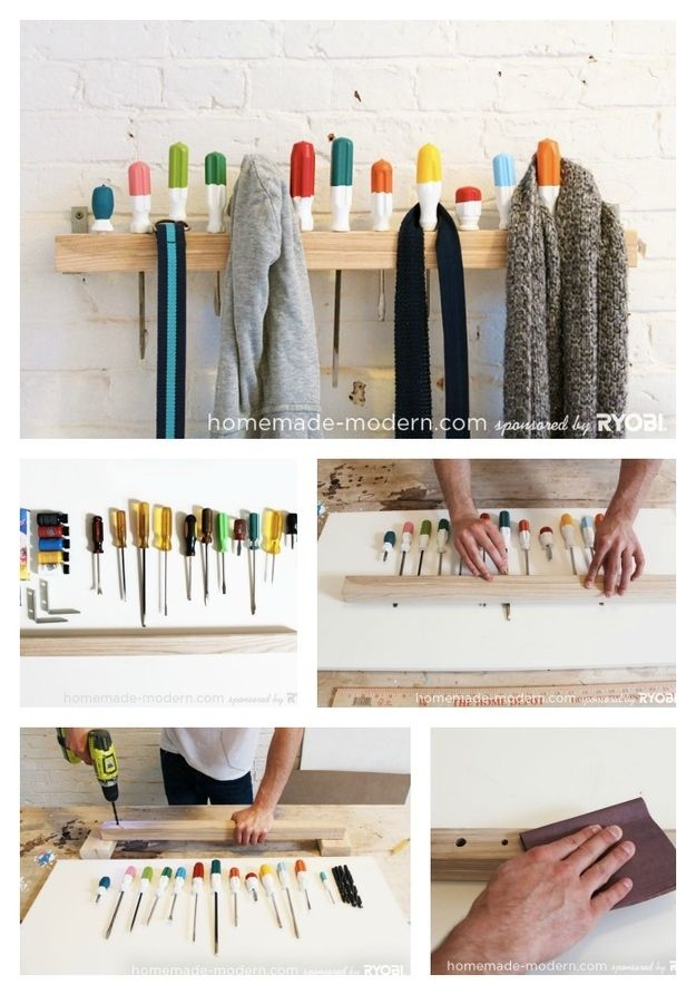 Screwdriver Coat Rack   50 Clever DIY Ways To Organize Your Entire Life
