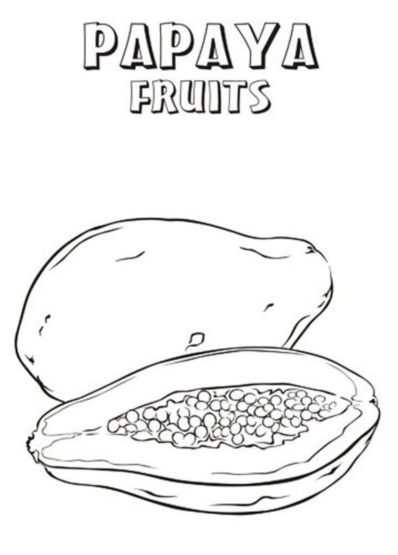 Papaya Fruit Coloring Pages