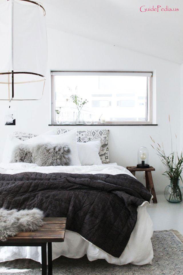 Neutral cozy layered bedroom via 17 best