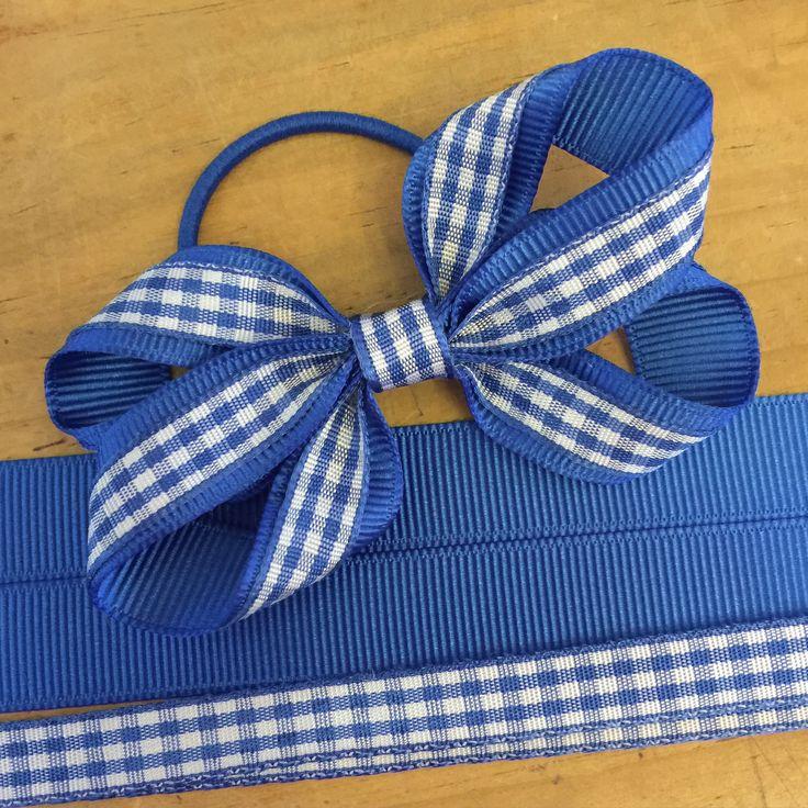 Gingham twisted ribbon hair bow design <3 gingham hair bows, school hair accessories, hair bobbles, making hair bows, hairbows, hair accessories, shop for hair bows