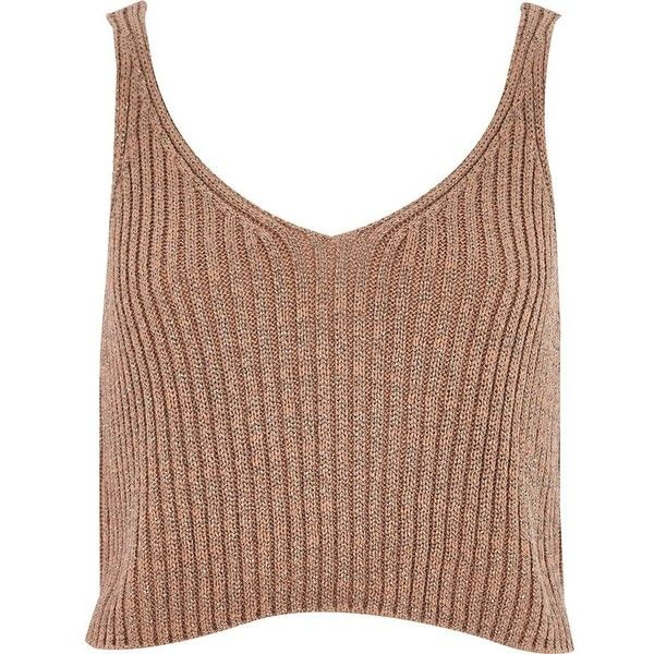 River Island Camel metallic cropped tank (€19) ❤ liked on Polyvore featuring tops, crop tops, shirts, crops, sale, women, tall shirts, river island, metallic shirt and metallic top