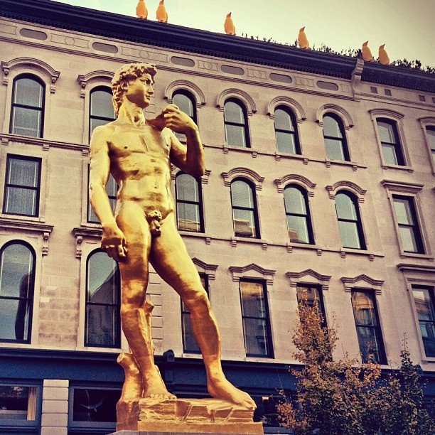 Statue Of David In Front Of The 21c Hotel In Downtown