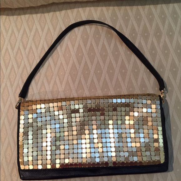 Fun gold and black leather evening bag. Great evening bag that can be worn as clutch or used with a strap. INC International Concepts Bags Clutches & Wristlets