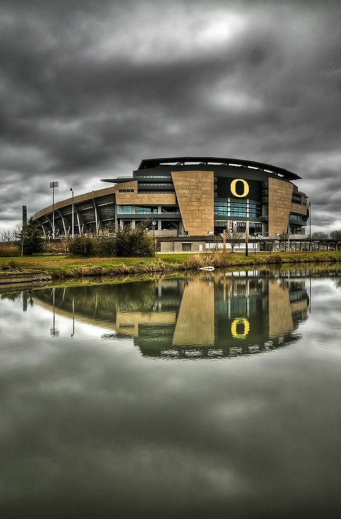 This was my first attempt at an HDR image and I think it turned out great. I love the reflection and the colors. I wanted to get a picture of Hayward but it was a little too busy and I didn't want a ton of people in the picture. So I headed out to Autzen to see what I could get and I guess I can't complain too much!  It looks a lot better here with a black background:  View On Black