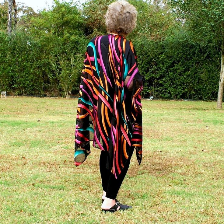 Ruana, Wrap, Shawl, Kimono, Beach Coverup or Caftan--Multi Color Ribbon on Black See Through Designer Fabric--One Size Fits Most Gypsies by YoungbearDesigns on Etsy