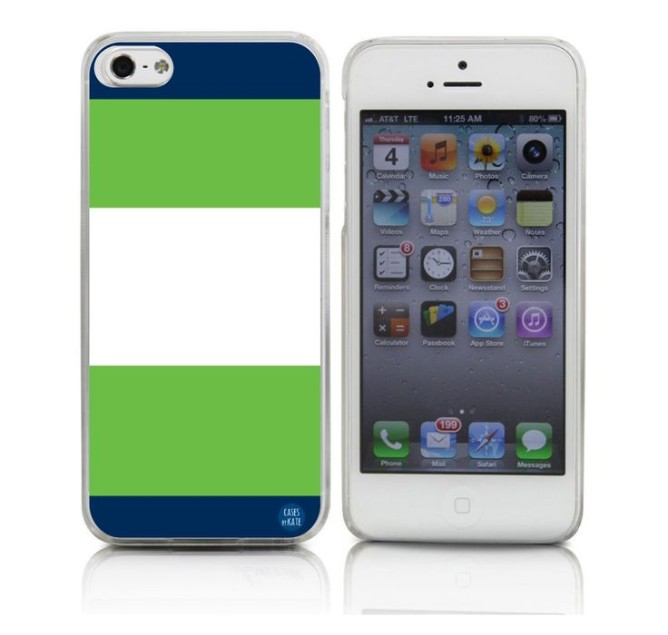 Navy & Green Stripes - Cases by Kate