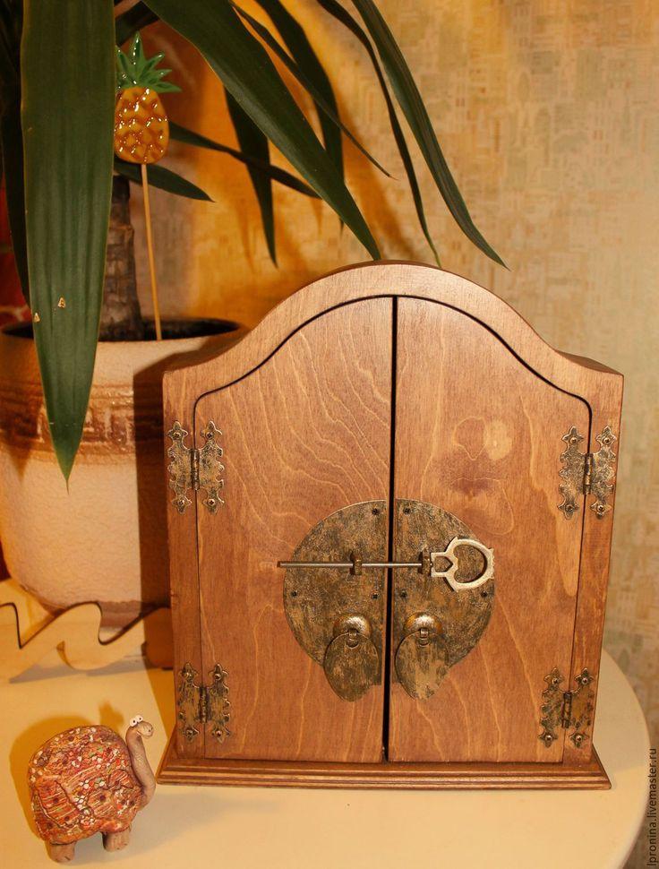 """Купить Ключница """"Двери старинного замка"""" - коричневый, ключница ручной работы, ключница деревянная"""