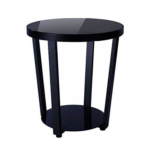 1208s Round Glass Top End Table Living Room Side Table Coffee
