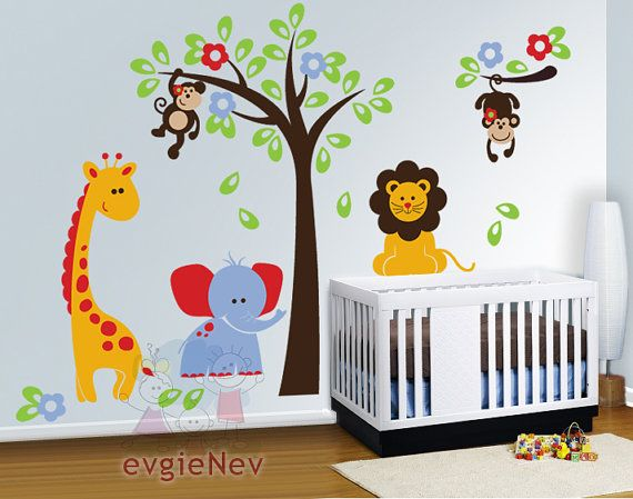 Nursery Wall Decals - Safari Set with Lion, Monkeys, Giraffe and Elephant Decals - INSTANT SHIPPING - PLSF010R