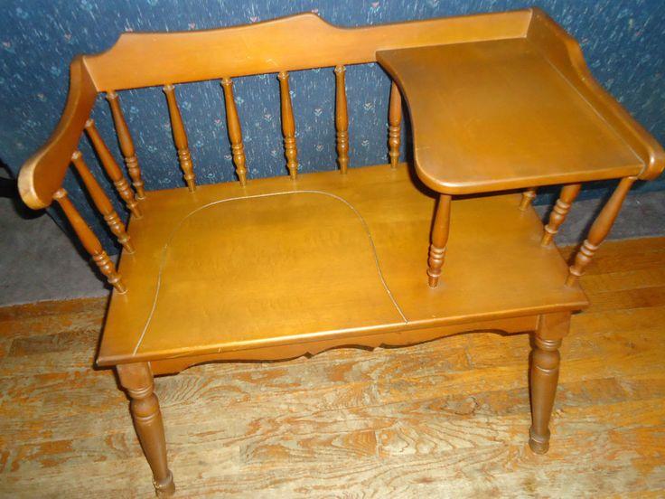 Vintage Table Maple Telephone Table Nutmeg Gossip Wood