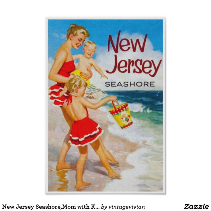 New Jersey Seashore,Mom with Kids; Vintage Travel Poster