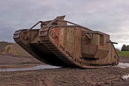 a photo of an early Mark IV British tank