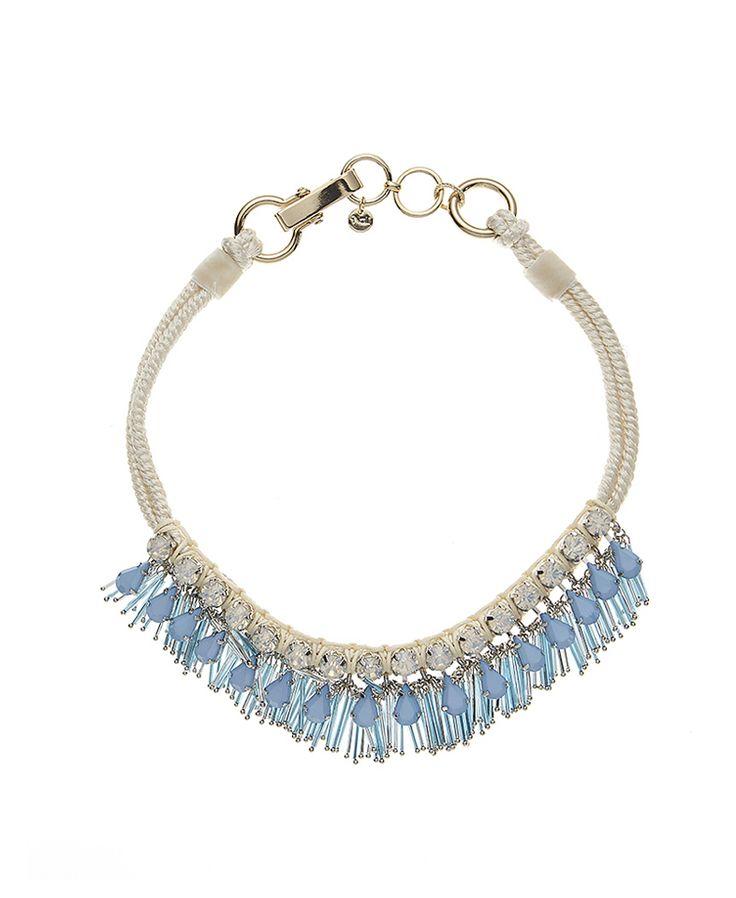 #Collana girocollo decorata con strass e frange color turchese