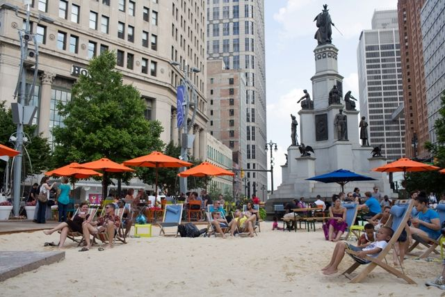 The Beach at Campus Martius (Photo: PPS). TU projects can be longer term, like an entire summer, or several summers. Some purists will sniff at our including this one here, but it's temporary and designed to transform a public space, which qualifies in our book.
