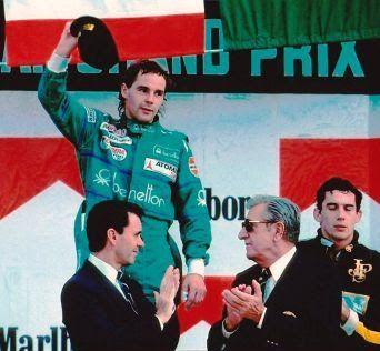 Gerhard Berger winner of the 1986 Mexico Grand Prix Benetton's first win
