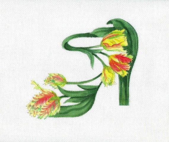 0 point de croix chaussure fleurs - cross stitch flower shoe
