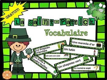 La Saint-Patrick - vocabulaire FREE! Liste de 21 mots pour vos activités en classe!