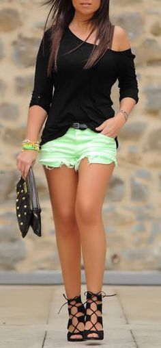 Black Off the Shoulder Blouse w/ Neon Lime Cut-Off Shorts & Lace-Up Heels ...if I loved my legs...may need a longer skirt instead