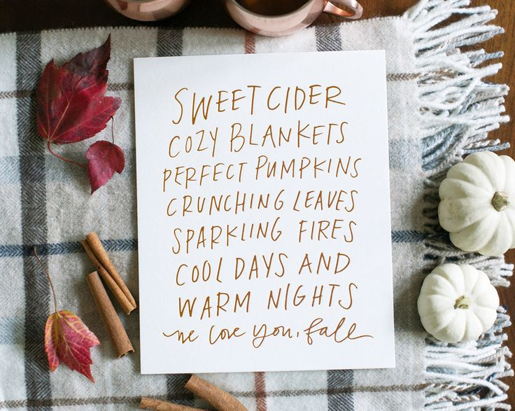 """yep. this is absolutely perfect. Lindsay Letters new """"We Love You, Fall"""" print."""