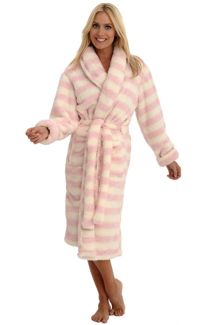Stripe Fleece Robe   Fashideas.com
