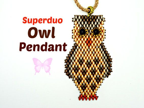 Tutorial to make a cute Owl Pendant in Superduo or Mini Duo beads. This Easy Pattern uses two hole Super Duo beads and is suitable for all levels including beginners. There are 10 pages of instructions with a separate diagram for Every row!  You will love this adorable owl necklace and you could easily make one in an afternoon! He measures 4 inches long in Superduos / 3.5 inches long in Mini Duos and looks great worn on a long cord or ribbon which you can slip over your head without using a…