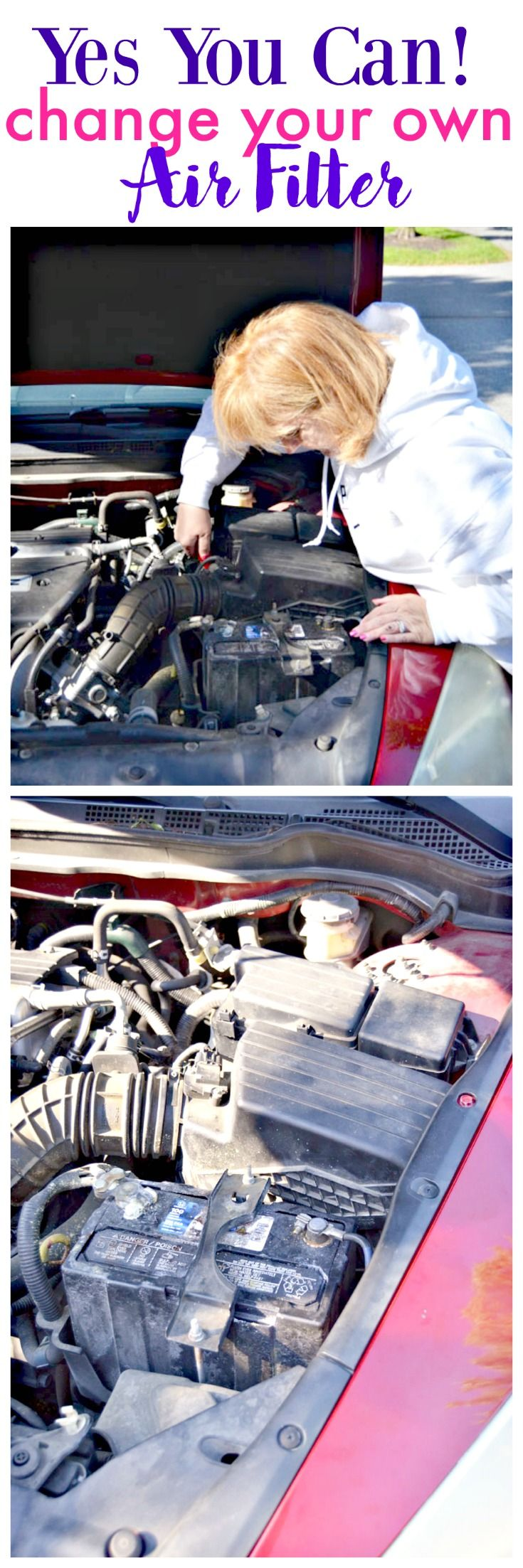 How to Change Your Car's Air Filter  Here's a super easy DIY: change your car's air filter - I'll show you how! #SummerCarCare #ad