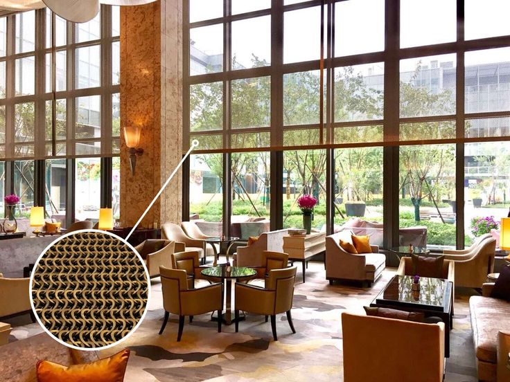 Kaynemaile in-fill screens at the Shangri-la Hotel in China. Design by LTW Designworks