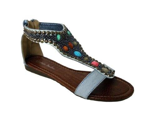 Chloe Boutin Women's Blue Boho Jeweled Gladiator Sandals (CAYO-03) 9 M US  women womens women's woman womans woman's footwear foot wear fashion style  dress ...