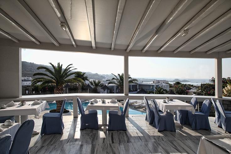 Ble Restaurant Breakfast Area, hotel Palladium in Mykonos, Greece