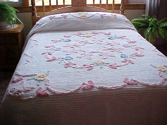 soft pink and blue flowered chenille bedspread on white - Chenille Bedspreads