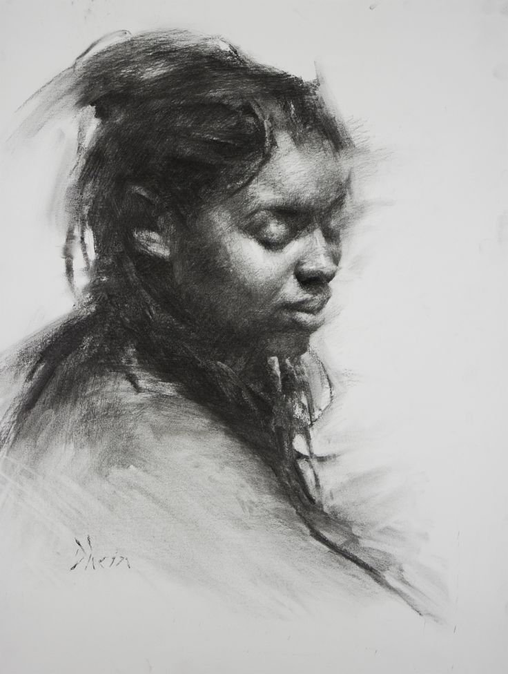 Portrait of Young Women, Charcoal on Paper
