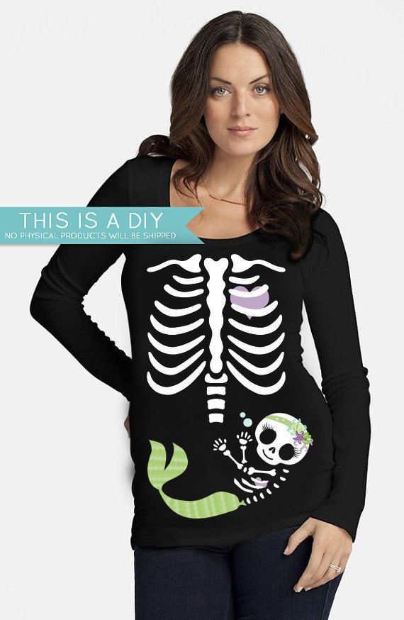DIY Pregnant Skeleton Mermaid Girl With Bow by DesignsbyCassieCM