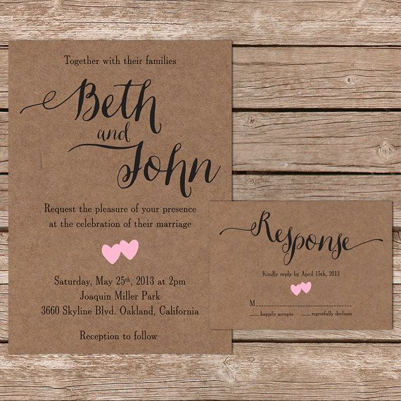 A Sweet And Simple Rustic Wedding Invite With A Beautiful
