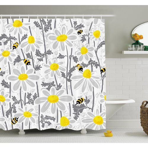 Found it at Wayfair - Daisy Flowers with Bees in Spring Time Honey Petals Floret Nature Purity Bloom Shower Curtain Set