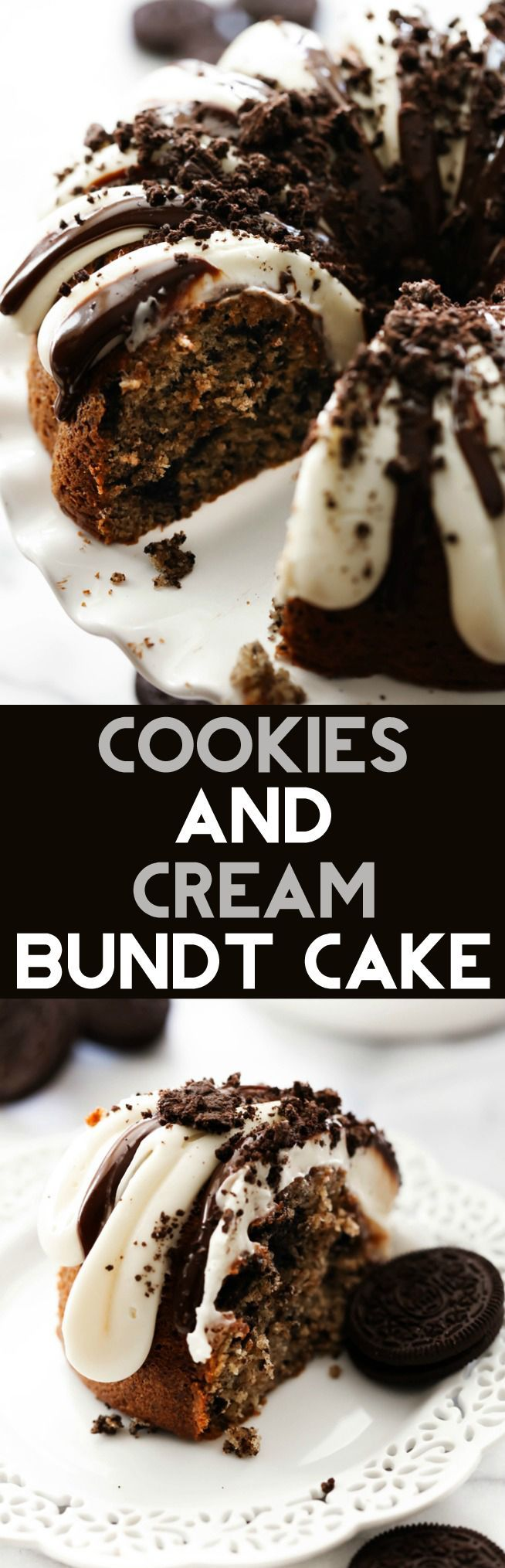 This Cookies and Cream Bundt Cake is divine. It is loaded with Oreo cookies. It is super moist and is topped with cream cheese frosting that compliments the chocolate cake perfectly!