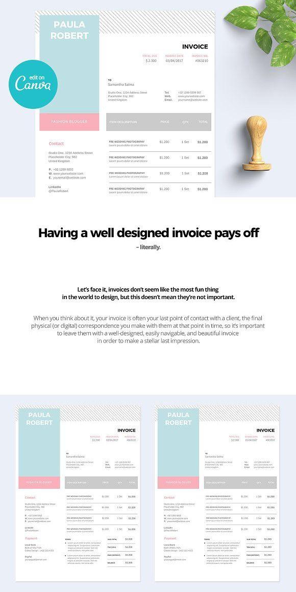 Canva Invoice Invoice Template Wellness Design Stationery Templates