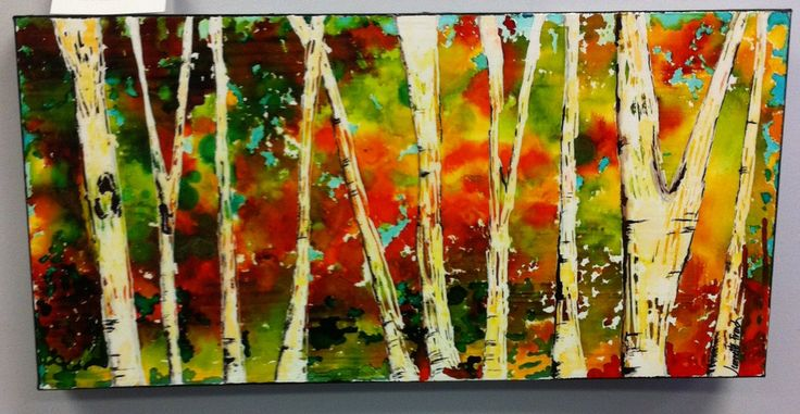 Jeannette's stunning Birch Tree Canvas - class scheduled for Thursday, Oct. 16th.