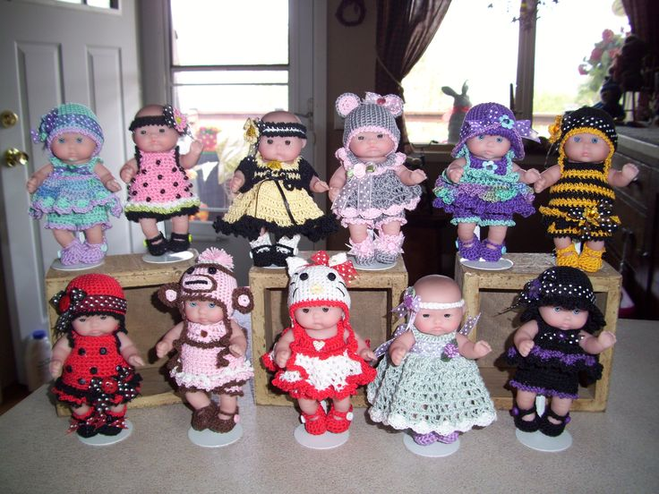 """Berenguer 5"""" Baby Dolls - Baby Dolls for Sale!! I have allot more to!! #1  More can be seen on Pinterest under Jana Langley Berenguer 5"""" Dolls with crocheted outfits"""